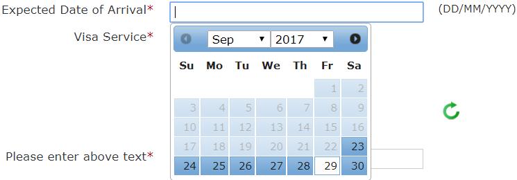 Le date disponibili di arrivo se, ad esempio, si richiede il visto elettronico il 19 Settembre partono dal 23 Settembre