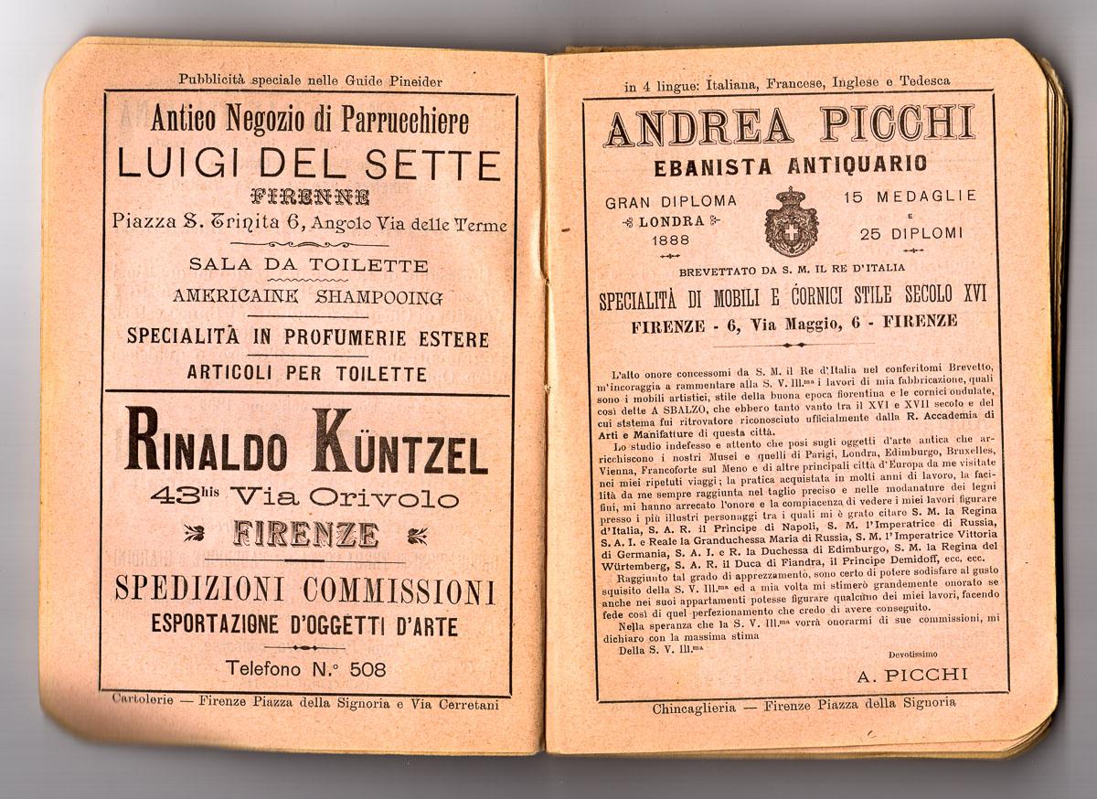 andrea picchi celebre ebanista antiquario aveva il suo studio in via Maggio 6 a Firenze