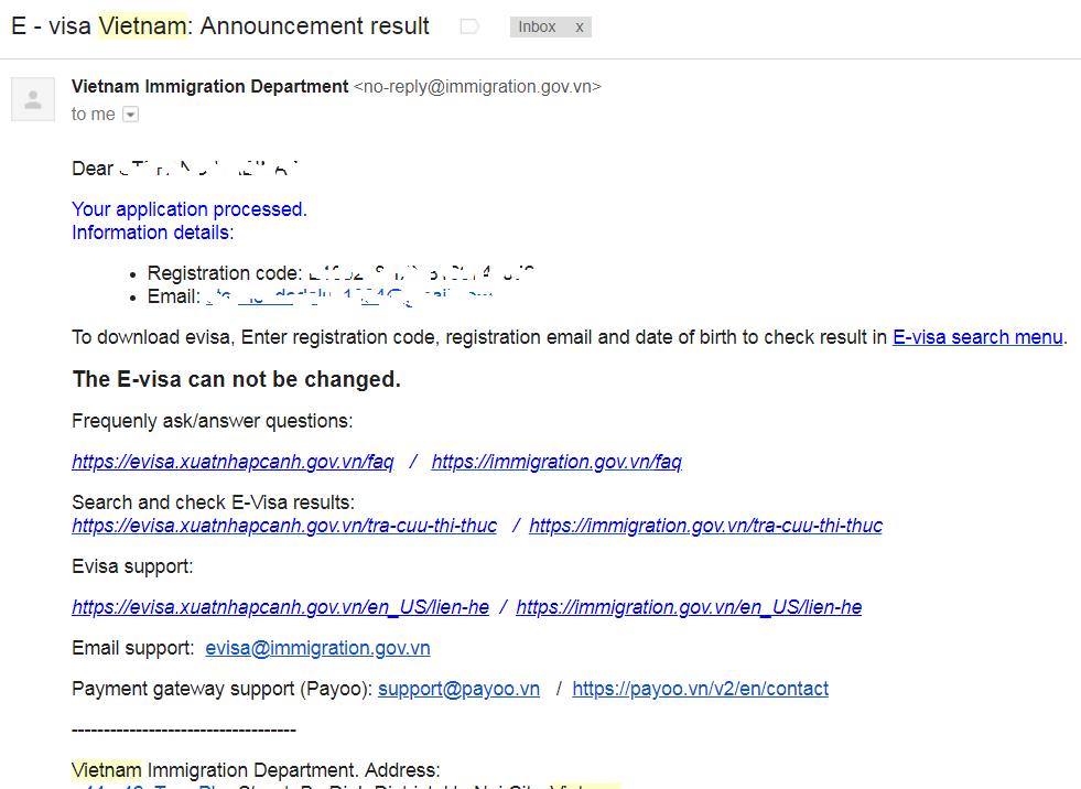 la mail di conferma da parte del dipartimento immigrazione del vietnam dice di andare a controllare sul sito se il visto è stato concesso o meno
