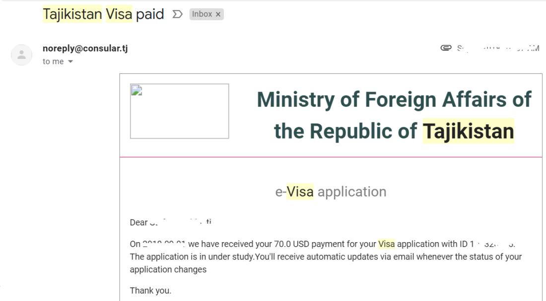 mail di avvenuto pagamento per il visto elettronico del Tajikistan
