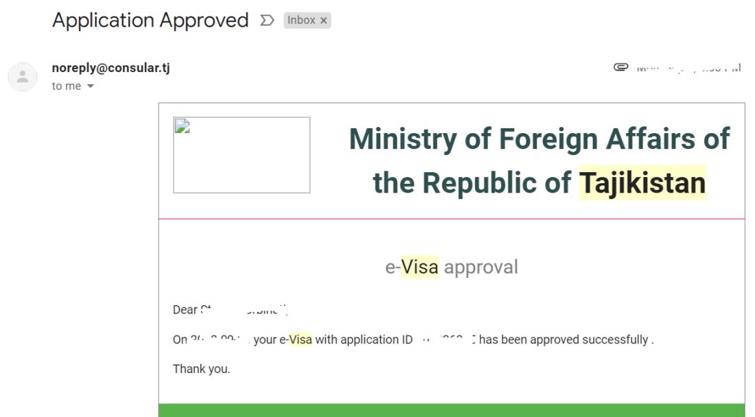 dopo due giorni lavorativi vi arriverà una mail di approvazione dell'e-visa per il Tajikistan.