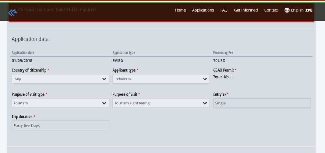 Compilate la prima schermata del portale per il visto elettronico per il Tajikistan con i vostri dati personali