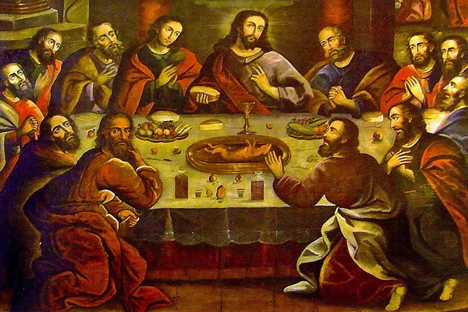 ultima cena con al centro un cuy (procellino d'india), piatto tipico del Perù