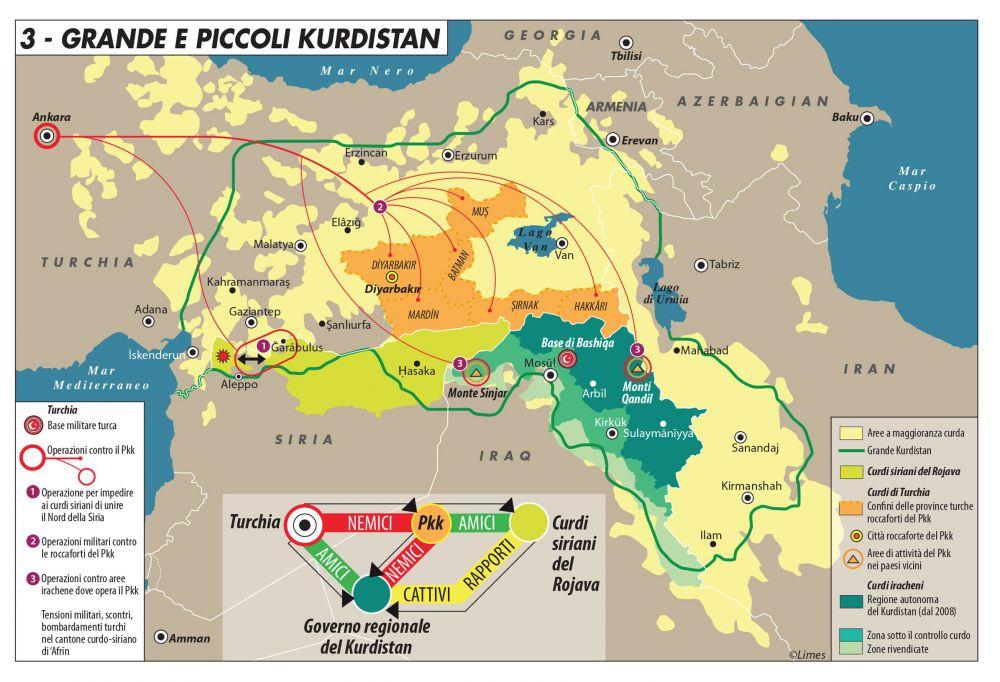 Mappa piccolo e grande kurdistan